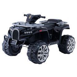 Elektrisches Mitfahr-Quad ALLROAD 12V, Schwarz, riesige weiche EVA-Räder, 2 x 12V, Motor, LED-Leuchten, MP3-Player mit USB, 12V7Ah-Akku
