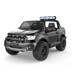 Elektroauto für Kinder Ford Raptor, Schwarz, Hochwertige Federung, LED-Leuchten, Doppelsitz, 2,4-GHz-Fernbedienung, Schlüsselstart, 4 X MOTOR, USB, SD-Karte, ORIGINAL-Lizenz