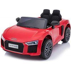 Elektroauto Audi R8 Small, Rot, Originallizenz, Batteriebetrieben, Türen öffnend, 2x 35 W Motor, 12 V Batterie, 2,4 GHz Fernbedienung, weiche EVA-Räder, Federung, Sanftanlauf