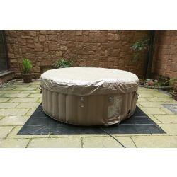 BeneoSpa Tragbarer aufblasbarer Whirlpool, Jacuzzi, für 4 Personen, 130 Massagedüsen, Braun weiß