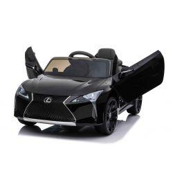 Elektroauto für Kinder Lexus LC500, schwarz, original lizenziert, 12V batteriebetrieben, vertikal öffnende Türen, 2x Motor, 2,4 GHz Fernbedienung, Federung, Laufruhe