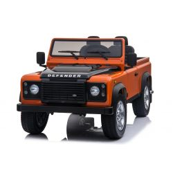 Kinder Elektrofahrzeug Land Rover Defender, Lizenziert, Radio mit USB / TF-Eingang, 2,4-GHz-Fernbedienung, Batterie 2 x 12V / 7AH, 4 X MOTOR, Doppel-Ledersitz, EVA-Räder, Orange