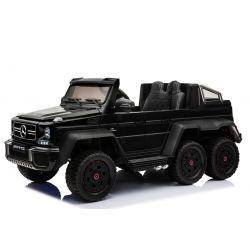 Elektro-Spielzeugauto Mercedes-Benz G63 6X6, LCD-Bildschirm, Rad- und Bodenbeleuchtung, 2,4 GHz, 12V14AH, herausnehmbarer Batteriekasten, 4-fach-Motor, Fernbedienung, doppelter Ledersitz, GUM-Räder, FM-Radio, Servomotor, zwei Pedal, schwarz lackiert