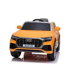 Elektrische Spielzeug Auto Audi Q8, Orange, original lizenziert, Ledersitz, öffnende Türen, 2 x 25 W Motor, 12 V Batterie, 2,4 GHz Fernbedienung, weiche EVA-Räder, LED-Leuchten, sanfter Start, ORIGINAL-Lizenz