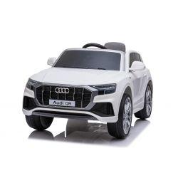 Elektrische Spielzeug Auto Audi Q8, Weiss, original lizenziert, Ledersitz, öffnende Türen, 2 x 25 W Motor, 12 V Batterie, 2,4 GHz Fernbedienung, weiche EVA-Räder, LED-Leuchten, sanfter Start, ORIGINAL-Lizenz