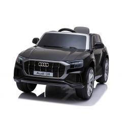 Elektrische Spielzeug  Auto Audi Q8, schwarz, original lizenziert, Ledersitz, öffnende Türen, 2 x 25 W Motor, 12 V Batterie, 2,4 GHz Fernbedienung, weiche EVA-Räder, LED-Leuchten, sanfter Start, ORIGINAL-Lizenz
