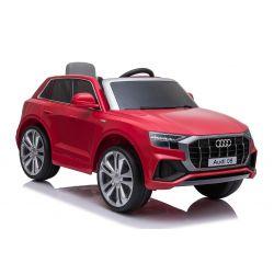 Elektrische Spielzeug Auto Audi Q8, Rot, original lizenziert, Ledersitz, öffnende Türen, 2 x 25 W Motor, 12 V Batterie, 2,4 GHz Fernbedienung, weiche EVA-Räder, LED-Leuchten, sanfter Start, ORIGINAL-Lizenz