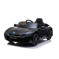 Elektrisches Kinderauto BMW i8, Schwarz, original lizenziert, Ledersitz, zu öffnende Türen, 2 x 25 W Motor, 12 V Batterie, 2,4 GHz Fernbedienung, weiche EVA-Räder, Federung, sanfter Start