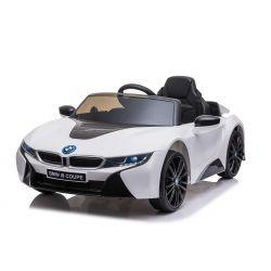 Elektrisches Kinderauto BMW i8, weiß, original lizenziert, Ledersitz, zu öffnende Türen, 2 x 25 W Motor, 12 V Batterie, 2,4 GHz Fernbedienung, weiche EVA-Räder, Federung, sanfter Start