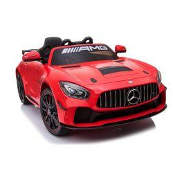 Elektrische Fahrt mit dem Auto Mercedes-Benz GT4, Rot, original lizenziert, batteriebetrieben, öffnende Türen, 2x Motor, 12 V-Batterie, 2,4 GHz-Fernbedienung, weiche EVA-Räder, Servomotor, weicher Start