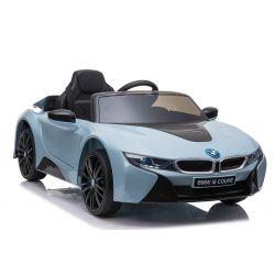 Elektrisches Kinderauto BMW i8, Blau, original lizenziert, Ledersitz, zu öffnende Türen, 2 x 25 W Motor, 12 V Batterie, 2,4 GHz Fernbedienung, weiche EVA-Räder, Federung, sanfter Start
