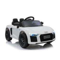 Elektroauto Audi R8 Small, Weiss, Originallizenz, Batteriebetrieben, Türen öffnend, 2x 35 W Motor, 12 V Batterie, 2,4 GHz Fernbedienung, weiche EVA-Räder, Federung, Sanftanlauf