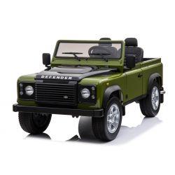 Elektro-Ride-On-Spielzeugauto Land Rover Defender, Lizenziert, Radio mit USB / TF-Eingang, 2,4-GHz-Fernbedienung, Batterie 2 x 12V / 7AH, 4 X MOTOR, Doppel-Ledersitz, EVA-Räder, Grün