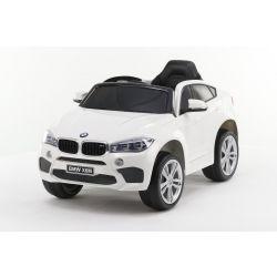 Electric Ride on Car BMW X6M NEU - Einzelsitz, Weiß, Originallizenz, Batteriebetrieben, Türen öffnen, Ledersitz, 2x Motor, 12-V-Batterie, 2,4-GHz-Fernbedienung, weiche EVA-Räder, Sanfter Start