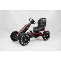 ABARTH Go Kart - Pedal Car mit Leerlauf, Schwarz, Eva-Rädern, ORIGINAL-Lizenz