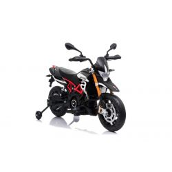 Elektromotorrad APRILIA DORSODURO 900, lizenziert, 12-V-Batterie, EVA-Weichräder, 2 x 18-W-Motoren, Federung, Metallrahmen, Metallgabel, Zusatzräder, Schwarz