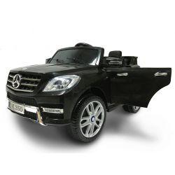 Kinder-Elektroauto Mercedes-Benz ML 350, Elektrofahrzeug schwarz, original lizenziert, batteriebetrieben, Öffnende Türen, Sitz aus Kunststoff, 2x Motor, 12-V-Batterie, 2,4-GHz-Fernbedienung, weicher Start, Dämpfung