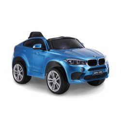Elektroauto BMW X6M NEW - Einzelsitz, Blau Lackiert, original lizenziert, batteriebetrieben, öffnende Türen, Ledersitz, 2x Motor, 12-V-Batterie, 2,4-GHz-Fernbedienung, weiche EVA-Räder, weicher Start