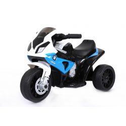 Kinder Electromotorrad BMW S 1000 RR Elektro Dreirad, Batteriebetriebenes Motorrad, 3 Räder, lizenziert, 1x Motor, 6V Batterie, Blau