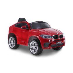 Kinder Elektroauto Fahrt mit dem Auto BMW X6M NEU - Einzelsitz, rot lackiert, original lizenziert, batteriebetrieben, Öffnende Türen, Ledersitz, 2x Motor, 12-V-Batterie, 2,4-GHz-Fernbedienung, weiche EVA-Räder, weicher Start