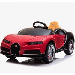 Elektroauto für Kinder Bugatti Chiron, Rot, Originallizenz, Batteriebetrieben, Türen Öffnen, Ledersitz, 2x Motor, 12 V Batterie, 2,4 GHz Fernbedienung, weiche EVA-Räder, Sanfter Start