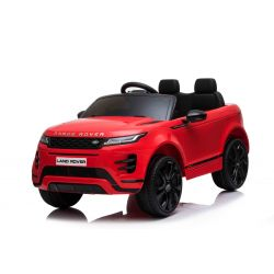 Elektroauto für Kinder Range Rover EVOQUE, Rot, doppelter Ledersitz, MP3-Player mit USB-Eingang, 4x4-Antrieb, 12V10Ah-Batterie, EVA-Räder, Aufhängungsachsen, Schlüsselstart, 2,4-GHz-Bluetooth-Fernbedienung, lizenziert