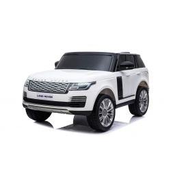 Elektro Kinderauto Range Rover, weiss, doppelter Ledersitz, LCD-Display mit USB-Eingang, Allradantrieb, 2x 12V7Ah-Batterie, EVA-Räder, Aufhängungsachsen, Schlüsselstart, 2,4-GHz-Bluetooth-Fernbedienung