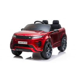 Elektroauto für Kinder Range Rover EVOQUE, Rot lackiert, doppelter Ledersitz, MP3-Player mit USB-Eingang, 4x4-Antrieb, 12V10Ah-Batterie, EVA-Räder, Aufhängungsachsen, Schlüsselstart, 2,4-GHz-Bluetooth-Fernbedienung, lizenziert