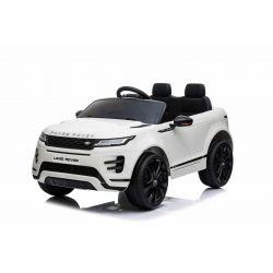 Elektroauto für Kinder Range Rover EVOQUE, Weiss, doppelter Ledersitz, MP3-Player mit USB-Eingang, 4x4-Antrieb, 12V10Ah-Batterie, EVA-Räder, Aufhängungsachsen, Schlüsselstart, 2,4-GHz-Bluetooth-Fernbedienung, lizenziert