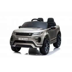 Elektroauto für Kinder Range Rover EVOQUE, grau lackiert, doppelter Ledersitz, MP3-Player mit USB-Eingang, 4x4-Antrieb, 12V10Ah-Batterie, EVA-Räder, Aufhängungsachsen, Schlüsselstart, 2,4-GHz-Bluetooth-Fernbedienung, lizenziert