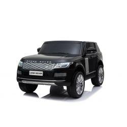 Elektro Kinderauto Range Rover, schwarz, doppelter Ledersitz, LCD-Display mit USB-Eingang, Allradantrieb, 2x 12V7Ah-Batterie, EVA-Räder, Aufhängungsachsen, Schlüsselstart, 2,4-GHz-Bluetooth-Fernbedienung