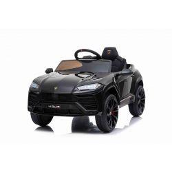 Elektrische Fahrt mit dem Auto Lamborghini URUS, Schwarz, Original lizenziert, batteriebetrieben, Türen öffnen, 2x Motor, 12-V-Batterie, 2,4-GHz-Fernbedienung, weiche EVA-Räder, Federung, sanfter Start