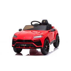 Elektrische Fahrt mit dem Auto Lamborghini URUS, Rot, Original lizenziert, batteriebetrieben, Türen öffnen, 2x Motor, 12-V-Batterie, 2,4-GHz-Fernbedienung, weiche EVA-Räder, Federung, sanfter Start
