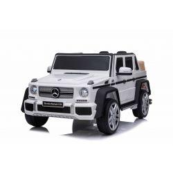 Elektroauto für Kinder Mercedes G650 MAYBACH, Weiss, Originallizenz, 12 V batteriebetrieben, Türen öffnen, 2 x 25 W Motor, 2,4 GHz Fernbedienung, weiche EVA-Räder, Federung, Sanftanlauf, MP3-Player mit USB / SD-Eingang