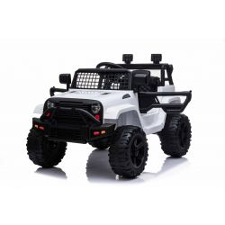 OFF ROAD Elektro-Aufsitzwagen mit Hinterradantrieb, Weiss, 12-V-Batterie, hohes Fahrgestell, breiter Sitz, hängende Achsen, 2,4-GHz-Fernbedienung, MP3-Player mit USB / SD-Eingang, LED-Leuchten