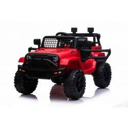 OFF ROAD Elektro-Aufsitzwagen mit Hinterradantrieb, Rot, 12-V-Batterie, hohes Fahrgestell, breiter Sitz, hängende Achsen, 2,4-GHz-Fernbedienung, MP3-Player mit USB / SD-Eingang, LED-Leuchten