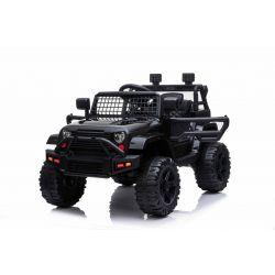 OFF ROAD Elektro-Aufsitzwagen mit Hinterradantrieb, schwarz, 12-V-Batterie, hohes Fahrgestell, breiter Sitz, hängende Achsen, 2,4-GHz-Fernbedienung, MP3-Player mit USB / SD-Eingang, LED-Leuchten