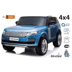 Elektro Kinderauto Range Rover, Blau lackiert, doppelter Ledersitz, LCD-Display mit USB-Eingang, Allradantrieb, 2x 12V7Ah-Batterie, EVA-Räder, Aufhängungsachsen, Schlüsselstart, 2,4-GHz-Bluetooth-Fernbedienung
