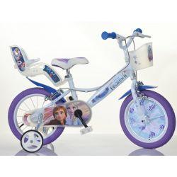 "DINO Bikes - Kids bike 14 ""144RF3 with seat and basket doll Frozen 2"