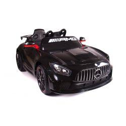 Elektrische Fahrt mit dem Auto Mercedes-Benz GT4, Schwarz, original lizenziert, batteriebetrieben, öffnende Türen, 2x Motor, 12 V-Batterie, 2,4 GHz-Fernbedienung, weiche EVA-Räder, Servomotor, weicher Start