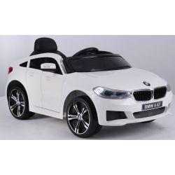 Elektrische Fahrt mit dem Auto BMW 6GT - Einzelsitz, Weiß, original lizenziert, batteriebetrieben, öffnende Türen, 2x Motor, Batterie 2x 6V / 4 Ah, 2,4-GHz-Fernbedienung,, weicher Start