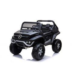 Elektro-Aufsitz-Spielzeugauto Mercedes-Benz UNIMOG - Schwarz, 2,4-GHz-Fernbedienung, 4x4, Zweisitzer, Federung, Startknopf, weiche EVA-Räder, USB, Bluetooth