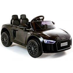 Elektroauto Audi R8 Small, Schwarz, Originallizenz, Batteriebetrieben, Türen öffnend, 2x 35 W Motor, 12 V Batterie, 2,4 GHz Fernbedienung, weiche EVA-Räder, Federung, Sanftanlauf
