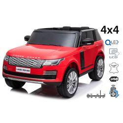 Elektro Kinderauto Range Rover, rot, doppelter Ledersitz, LCD-Display mit USB-Eingang, Allradantrieb, 2x 12V7Ah-Batterie, EVA-Räder, Aufhängungsachsen, Schlüsselstart, 2,4-GHz-Bluetooth-Fernbedienung