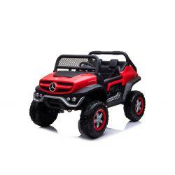 Elektro-Aufsitz-Spielzeugauto Mercedes-Benz UNIMOG - Rot, 2,4-GHz-Fernbedienung, 4 x 4, Zweisitzer, Federung, Startknopf, weiche EVA-Räder, USB, Bluetooth