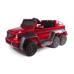 Elektro-Spielzeugauto Mercedes-Benz G63 6X6, LCD-Bildschirm, Radleuchten und Bodenleuchten, 2,4 GHz, 12V/14AH, Abnehmbare Batterie, 4 X MOTOR, Fernbedienung, Doppelsofa, Gummi-Räder, Radio, Servomotor, Zwei Pedale, Rot Lackiert