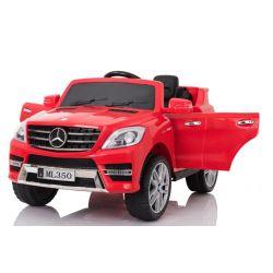 Elektroauto Kinder Mercedes-Benz ML 350, rot, Elektrofahrzeug, original lizenziert, batteriebetrieben, Öffnende Türen, Sitz aus Kunststoff, 2x Motor, 12-V-Batterie, 2,4-GHz-Fernbedienung, weicher Start, Dämpfung