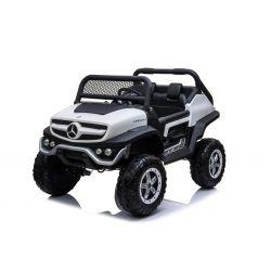 Elektro-Aufsitz-Spielzeugauto Mercedes-Benz UNIMOG - Weiß, 2,4-GHz-Fernbedienung, 4 x 4, Zweisitzer, Federung, Startknopf, weiche EVA-Räder, USB, Bluetooth